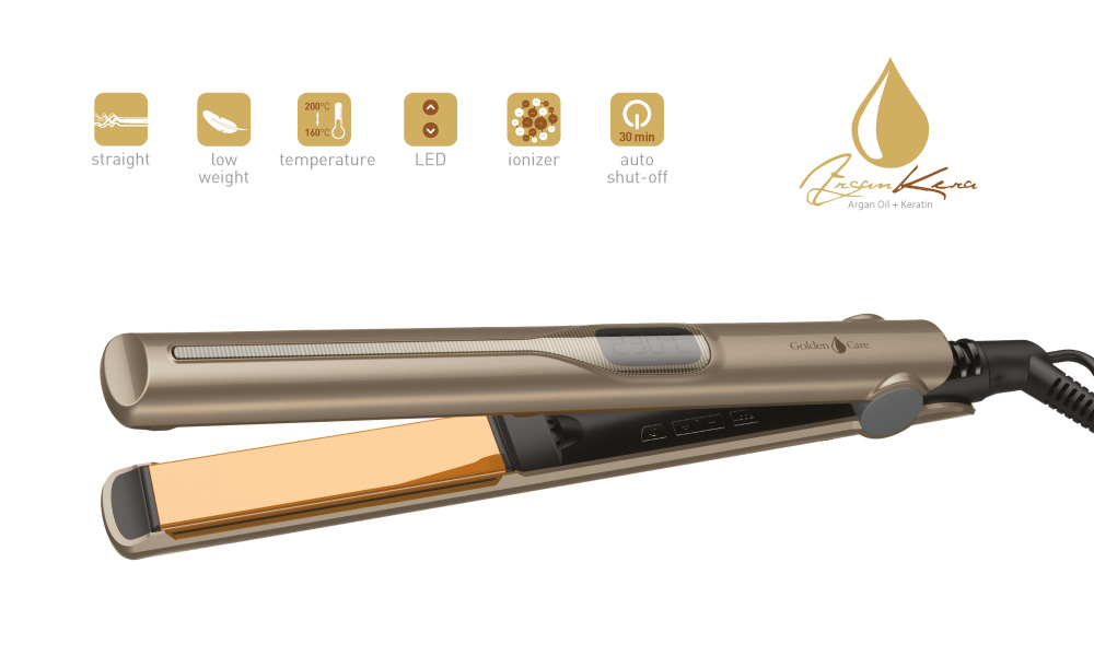 VZ-1400 žehlička na vlasy Argan a Keratin Golden Care + doprava zdarma