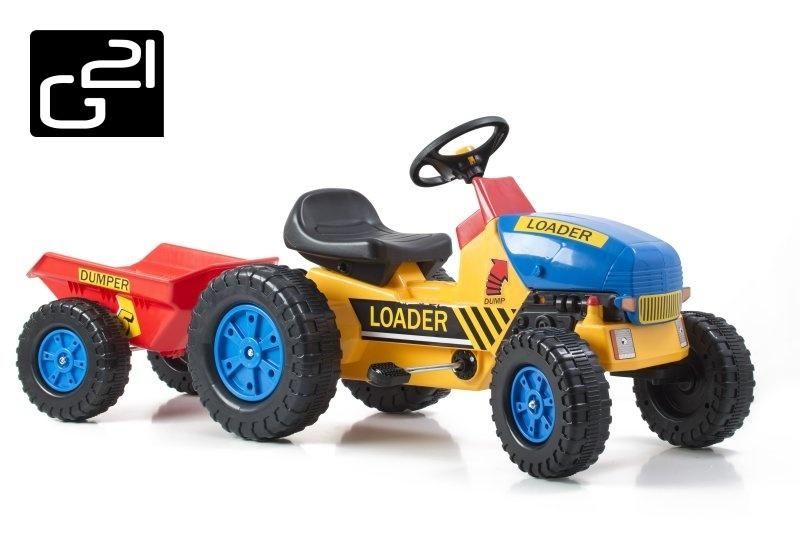 Šlapací traktor G21 Classic s vlečkou žluto/modrý + doprava zdarma