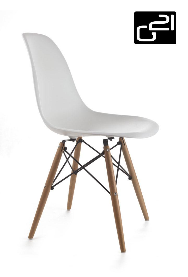 Designová židle G21 Timber White + doprava zdarma