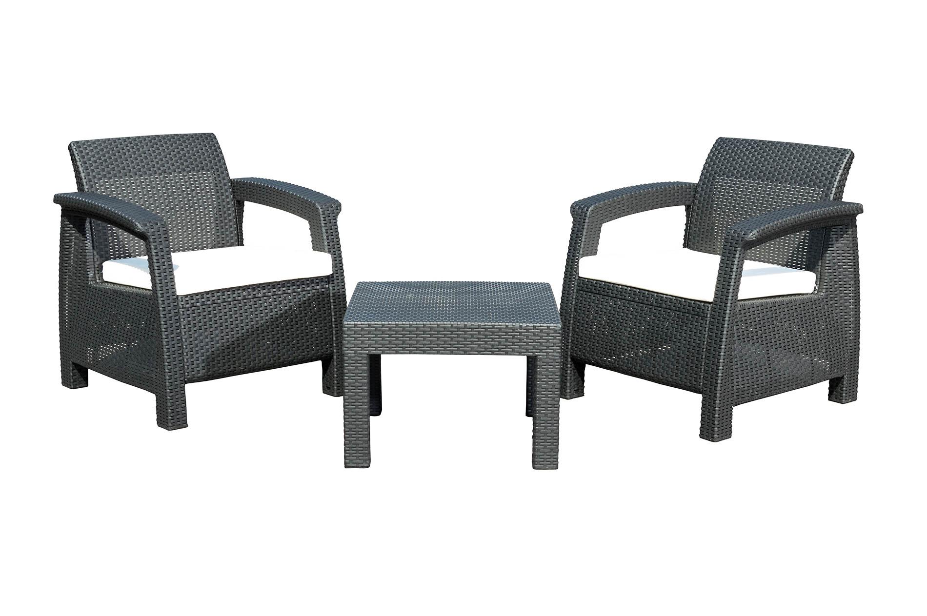 Zahradní nábytek G21 MOANA RELAX imitace ratanu, černý (2+1) + doprava zdarma