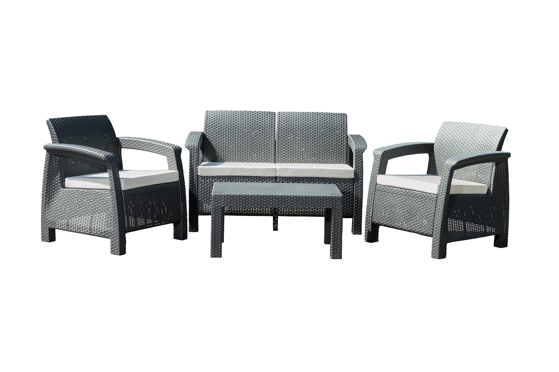 Zahradní nábytek G21 MOANA FAMILY imitace ratanu, černý (2+1+1) + doprava zdarma