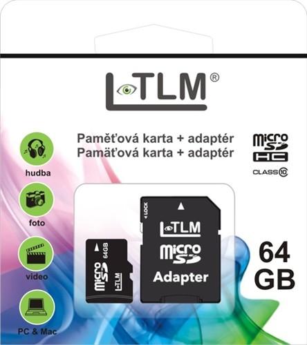 LTLM Micro SD + SD adaptér 64GB Class 10 + doprava zdarma