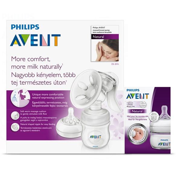 Odsávačka mateřského mléka Philips AVENT Natural se zásobníkem 125ml PP + mini láhev