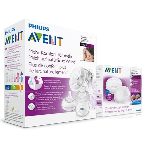 Odsávačka mateřského mléka Philips AVENT Natural se zásobníkem 125ml + noční vložky 20ks