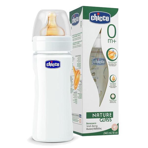 Kojenecká láhev Chicco sklo 240 ml, kauč.d., 0+