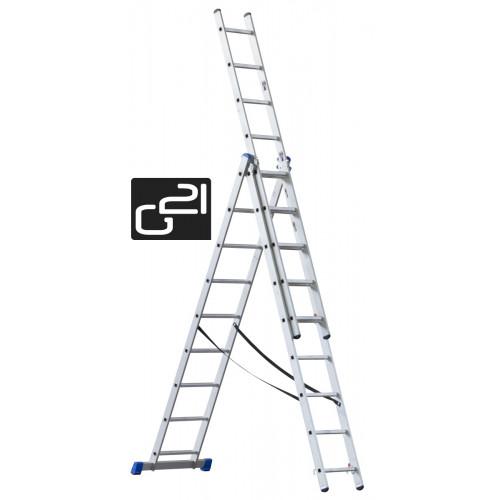 Žebřík G21 3-dílný 7,6m 3x11 příček GA-H-3x11
