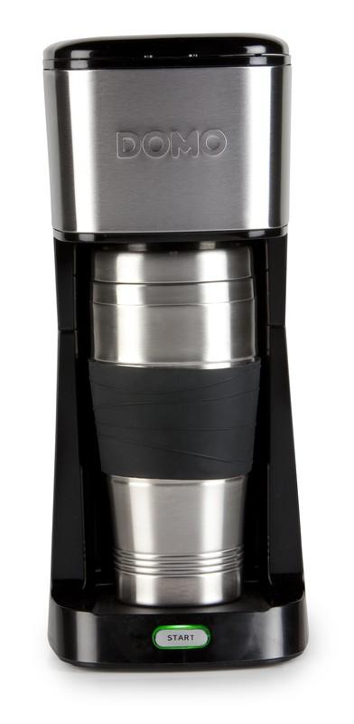 Kávovar s termohrnkem - černý - DOMO DO437K, 400 ml, nerez + doprava zdarma