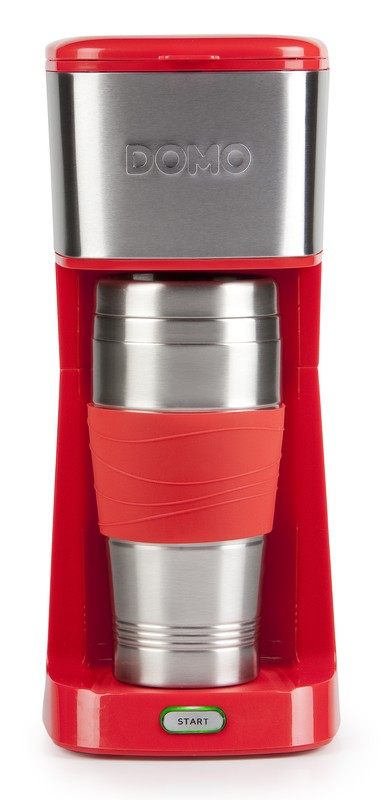 Kávovar s termohrnkem - červený - DOMO DO438K, 400 ml, nerez + doprava zdarma
