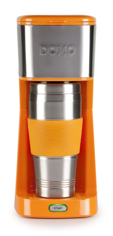 Kávovar s termohrnkem - oranžový - DOMO DO439K, 400 ml, nerez