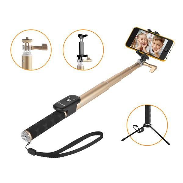 Selfie tyč GoGEN 4 teleskopická, bluetooth, zlatá + doprava zdarma