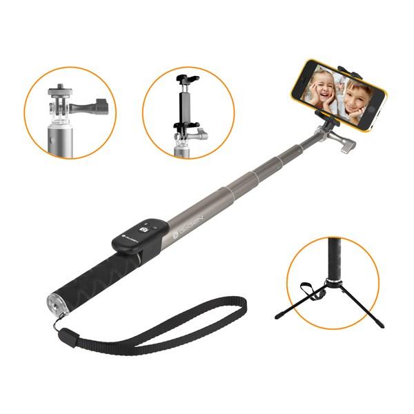 Selfie tyč GoGEN 4 teleskopická, bluetooth, titanová + doprava zdarma