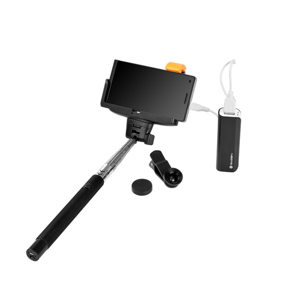 Selfie SET GoGEN 3in1, selfie tyč, power bank, mini objektiv + doprava zdarma