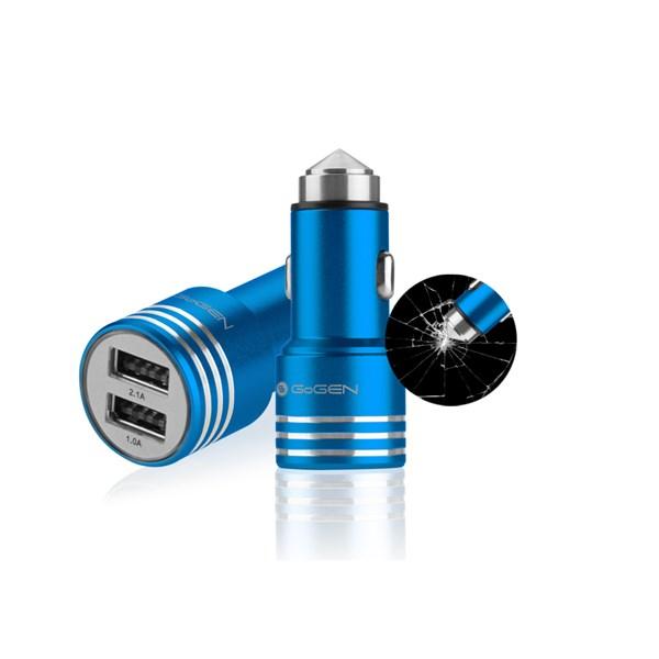 Autonabíječka GoGEN kovový bezpečnostní hrot, 2x USB, modrá + doprava zdarma