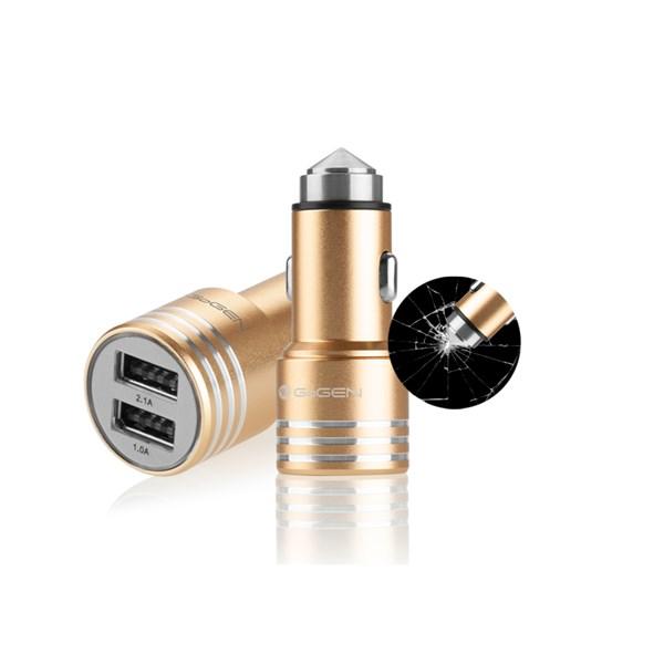 Autonabíječka GoGEN kovový bezpečnostní hrot, 2x USB, zlatá + doprava zdarma