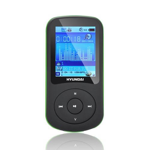 MP3 přehrávač Hyundai MPC 401 FM, 2GB, černá barva - zelený proužek + doprava zdarma