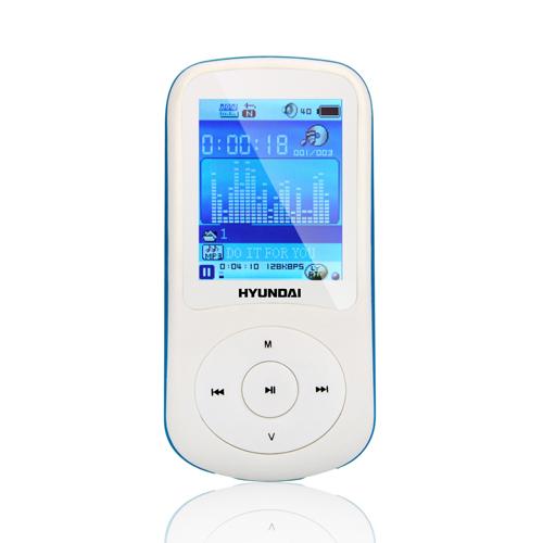 MP3 přehrávač Hyundai MPC 401 FM, 4GB, bílá barva - modrý proužek + doprava zdarma