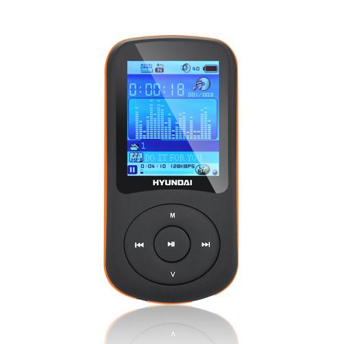 MP3 přehrávač Hyundai MPC 401 FM, 8GB, černá barva - oranžový proužek + doprava zdarma