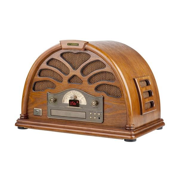 Radiopřijímač s CD Hyundai RC 403 U RETRO, borovice + doprava zdarma