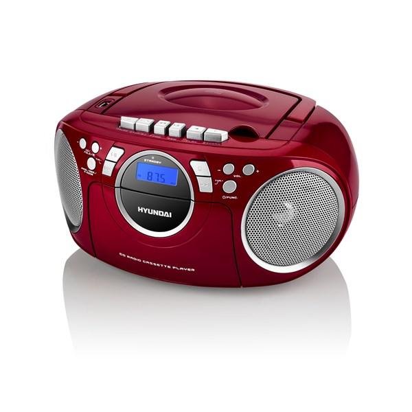 Radiomagnetofon Hyundai TRC 788 AU3RS s CD/MP3/USB, červená/stříbrná + doprava zdarma