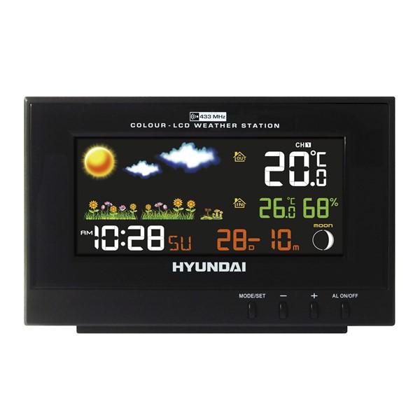Meteostanice Hyundai WS 2202, barevný displej, černá barva + doprava zdarma