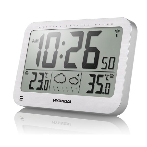 Meteostanice Hyundai WS 2331, velké hodiny, stříbrná