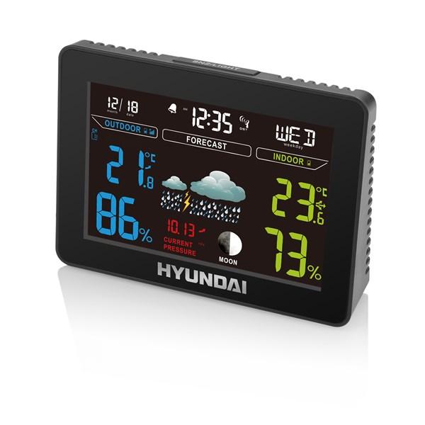 Meteorologická stanice Hyundai WS 8230, barevný displej, s adaptérem, černá barva + doprava zdarma