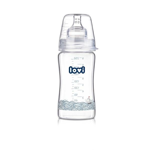 Kojenecká láhev LOVI Diamond Glass 250ml Marine čirá/modrá